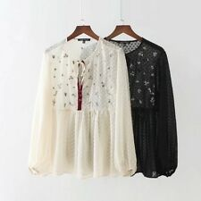 Womens Sequins Embroidery Floral Long Sleeve See Through Blouse Shirt Tops SML