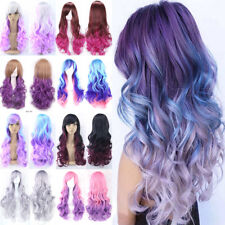 Women Lady Cosplay Wig Long Curly Wave Synthetic Hair Hallowen Costume Dress Mh