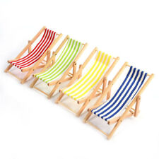 1/12 Dollhouse Miniature Furniture Striped Wooden Beach Sunbathing Lounge Chairs