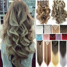 New Real Thick Weft Full Head 10% Human Hair Extensions Clip in Brown Blonde Mss