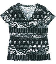Mossimo Womens V-Neck Basic T-Shirt Short Sleeve Black Gray Geometric Print