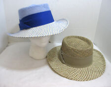 Gambler Hat Twisted Straw & Linen 2 Tone Brimmed Unisex Safari Hat Choose Color