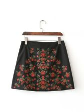 Womens Ethnic Floral Embroidery A-Line Zipper Black Mini Skirt SML