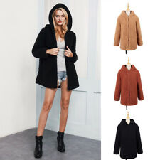 Women's Winter Warm Faux Fur Long Sleeve Coat Hoodie Jacket Outerwear Sanwood