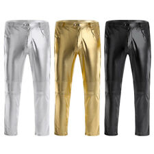 Sexy Mens Faux Leather Skinny Tight Pants Clubwear Wetlook Legging Long Trousers