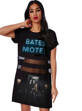 The Bates Motel Peek A Boo Mesh Short Sleeve Mini T-Shirt Dress XS, S, M, L, XL.