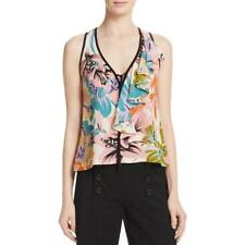 Nanette Lepore 1155 Womens Floral Ruffled Tie-Front Tank Top BHFO