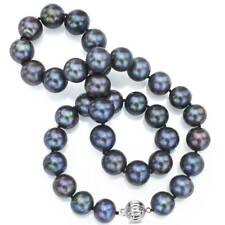 DaVonna Sterling Silver 13-15 mm Black Freshwater Cultured Pearl Strand Necklace