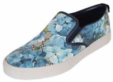 NEW Gucci Men's 407362 GG BLOOMS BLUE Coated Canvas Slip On Sneakers Shoes