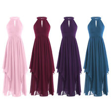 Sexy Women Halter Neck Chiffon Sleeveless Formal Gown Pleated Party Maxi Dress