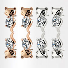 Classic Alloy Fox Stud Earrings Animal Crystal Earring Plated Silver Gold