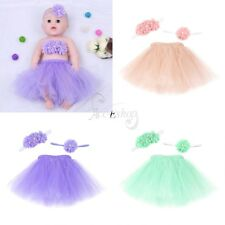 3 PCS Newborn Baby Girls Tutu Skirt &Wrapped& Flower Headband Outfit Photo Props
