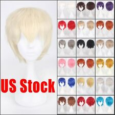Fashion Short Red Orange Straight Full Hair Wig Men'S Synthetic Cosplay Wigs Vbg