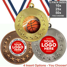 BASKETBALL METAL MEDALS 50mm, PACK OF 10, RIBBONS, INSERTS or OWN LOGO & TEXT