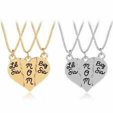 3Pcs/set Women Silver/Gold Mom Sister Love Heart Pendant Necklaces Jewelry Gift