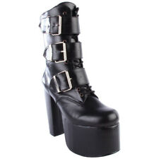 "DEMONIA TORMENT-703 Women's 5 1/2""Heel Goth Punk Cyber 3 Buckle Ankle Calf Boots"