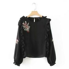 New Womens Floral Embroidery Black Ruffed Detail Long Sleeve Pullover Shirt SML