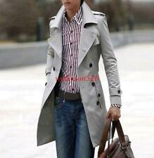 New Mens Double Breasted Trench Coat Long Casual Slim Fit Jacket Outwear New