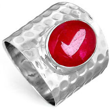 Solid 925 Sterling Silver Ring Ruby Gemstone Boho Magic Jewelry Size