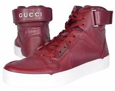 NEW Gucci Men's 386738 Strong Red Leather High Top Sneakers Trainers Shoes