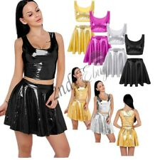 Sexy Women Patent Leather Wet Look Liquid Crop Tank Top/Pleated Skater Skirt Set