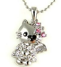 Hello Kitty Crystal Pink Bow Angle Wing Charm Silver Necklace ~ New