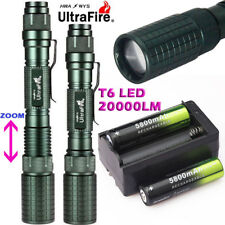 20000LM Zoom T6 LED 18650 Flashlight Torch Lamp Light+18650 BTY+Charger Hiking