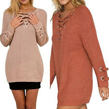 Womens V Neck Striped Sweater Pullover Jumper Long Sleeve Knitted Casual Tops