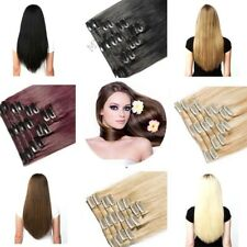 100% Remy Clip in Hair Extensions Full Head Real Human Hair Blonde Brown Black