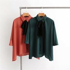 Womens Casual Bow Tie Lapel 3/4 Sleeve Asymmetric Loose Shirt Blouse Tops SML