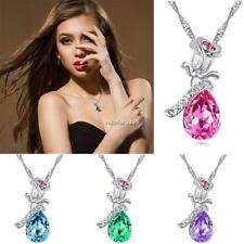 Women Rhinestones Flower Pendant Necklace Silver Color Chain Necklace N4U8