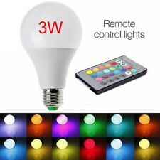 E27 3W 85-265V RGB LED Lamp Light Bulb Changing 16 Colors +IR Remote Control #EE