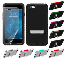 "RUGGED TRI-SHIELD SOFT SKIN HARD CASE STAND SCREEN PROTECTOR FOR iPHONE 6 (4.7"")"