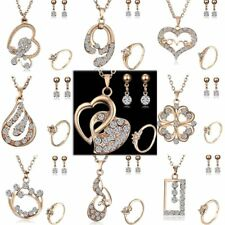 Gold Crystal Butterfly Heart Earrings Necklace Ring Wedding Bridal Jewelry Set