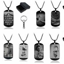 Fashion 316L Stainless Steel Dog Tag Pendant Necklace Keychain Box Jewelry Set
