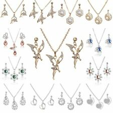 Elegant Crystal Rhinestone Flower Butterfly Dragon Necklace Earrings Jewelry Set