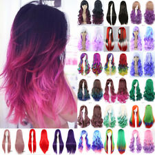 Real Thick Curly Straight Wave Cosplay Wigs 18Colors Ombre Synthetic Hair Wig @@