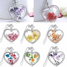 Silver Natural Real Dried Flower Heart Wish Glass Pendant Necklace Jewelry Gift