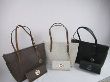 MICHAEL KORS MK SIGNATURE PVC JET SET EW TOP ZIP TOTE BAG Wallet Various Colors