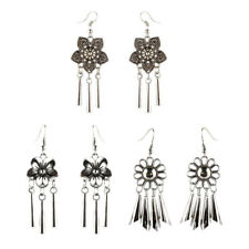 1 Pair Flower Dangle Tassel Earring Folk Ethnic Dangle Fish Hook Jewelry