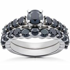 14k White Gold 2ct TDW Black Diamond Engagement Wedding Ring Set
