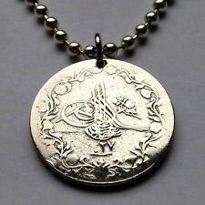 Egypt 5/10 Qirsh coin pendant Egyptian Ottoman Tughra Turkey Sultan n000270c