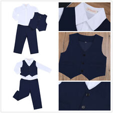 3pcs Baby Boys Kids Gentleman Suits Set Shirt Vest Pants Party Clothes Outfits