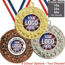 METAL STAR MEDALS 50mm OWN LOGO, PACK OF 10 WITH RIBBONS, INSERTS, 3 PACK OPTION