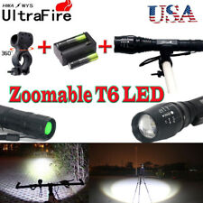 US`20000LM Zoom XMLT6 LED 5Mode Flashlight Torch Lamp+18650battery+charger+clip