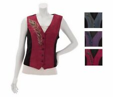 NWT BOB MACKIE'S Peacock Plume Embroidered Faux Suede & Mole Skin Vest 240618RM