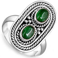 Solid 925 Sterling Silver Ring Genuine Emerald Gemstone Statement Boho Size