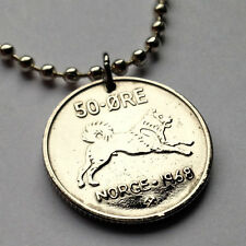 Norway 50 ore coin pendant Norwegian Elkhound dog husky Oslo Scandinavia n000249