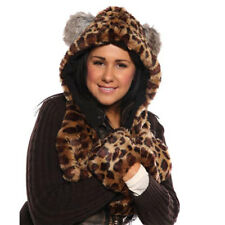 New Womens Faux Fur Hooded Scarf With Pockets Warm Winter Thermal Fashion Hat