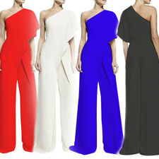 2018 Women Slash Neck One Shoulder High Waist Wide Leg Asymmetric Jumpsuit Pants